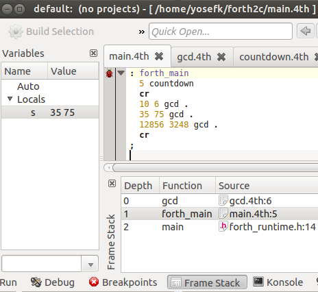 KDevelop used to debug Forth code